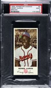 Hank Aaron Johnston Cookies rookie card