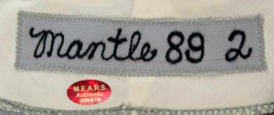 Mantle jersey tag Old Timers Day 1989