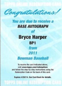 2011 Bowman auto redemption Harper
