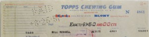 Bill Russell signed Topps check