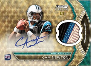 Cam Newton Bowman Sterling auo relic rookie