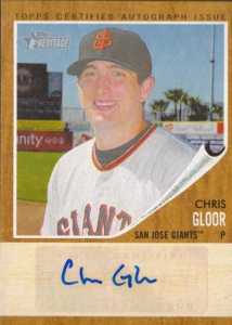 Chris Gloor autographed card 2011 Heritage