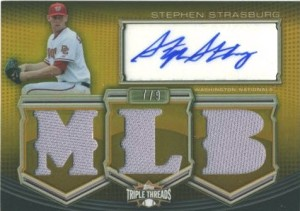 Stephen Strasburg Triple Threads Gold Auto