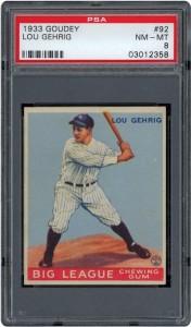 1933 Goudey Gehrig PSA 8