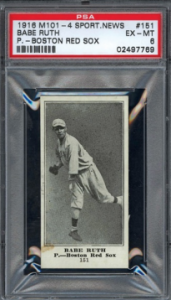 Babe Ruth 1916 M101-4 rookie card