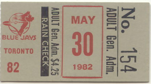 1982 Orioles ticket stub Ripken streak game one