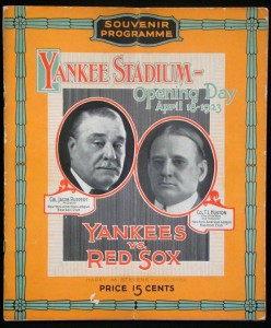 1923 Program first game Yankee Stadium