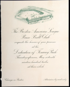 Opening invitation Fenway Park 1912