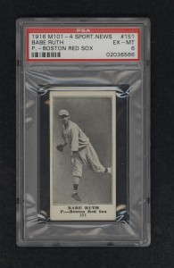 Babe Ruth rookie card 1916 PSA 6