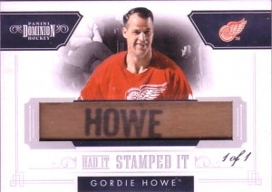 Gordie Howe stick name card