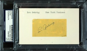 Autographed Lou Gehrig card