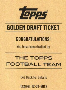 Topps 2012 Golden Draft Ticket