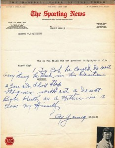 Sporting News questionnaire Cy Young autograph