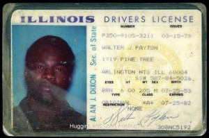 Illinois drivers license Walter Payton