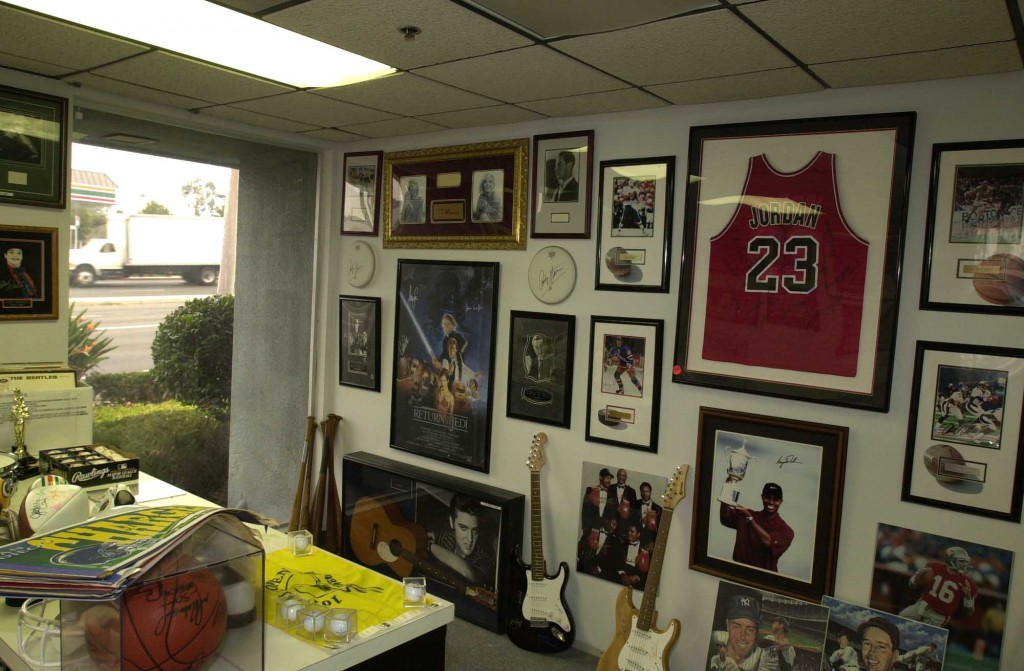 A forged Michael Jordan jersey hangs with other fake pieces produced by the Bullpen ring.