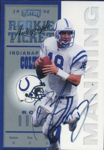1998 Playoff Contenders Rookie Ticket autograph Peyton Manning