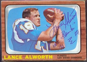 Autographed Lance Alworth 1966 Topps football card