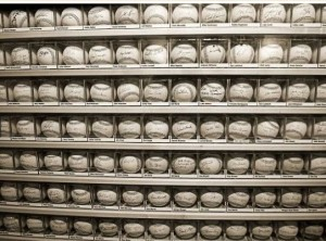 Autographed baseballs at Little Cooperstown exhibit