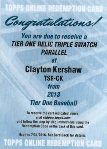 2013 Topps Tier One Kershaw Redemption