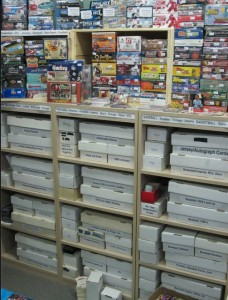 Boxes and singles inside Lower Level Sports Cards.