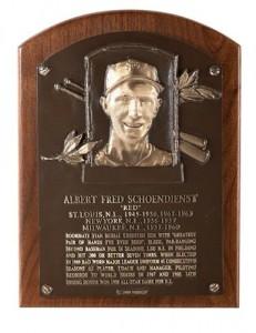 Hall of Fame plaque Red Schoendiesnt