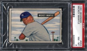 PSA 8 Mickey Mantle Bowman rookie