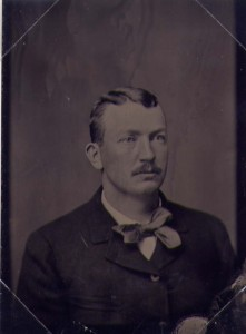 circa 1890 tintype of baseball star Cy Young, with the image on iron.
