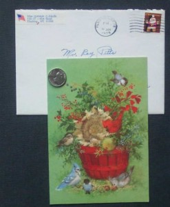 First woman to swim the English Channel Gertrude Ederle signed Christmas card with the original mailing envelope with her return address and foreword address of note collector Roy Pitts.  Not only does the envelope help authenticate the card, but it displayd well with it.