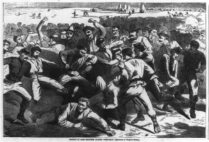 1865 Winslow Homer wood engraving print of soldiers playing football