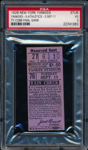 Ticket Ty Cobb last game