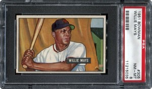 1951 Bowman Willie Mays PSA 8