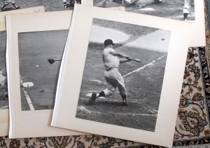 Roger Maris hitting 61 in 1961, by Frank Hurley.  This shows how the jumbo photos are pasted to boards, and with edge tape suggesting they were once bound together.
