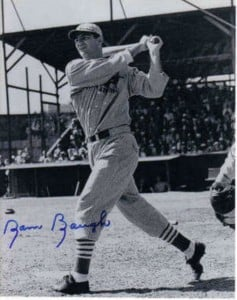 Autographed Sammy Baugh baseball photo