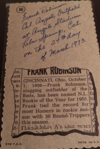 Frank Robinson back 1974 Deckle Edge