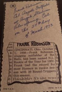 Frank Robinson back 1974 Deckle Edge