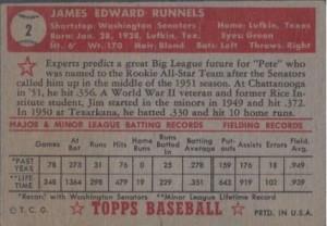 Pete Runnells 1952 Topps redback