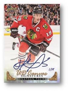 Autographed Jonathan Toews 2014-15 Upper Deck hockey card