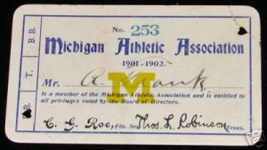 1901 University of Michigan season pass, including for football and baseball games.