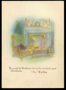 1930 Christmas card from the Babe Ruth family