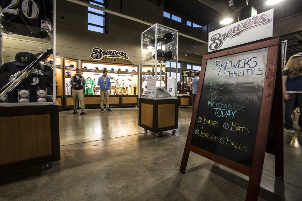 Miller Park Brewers game worn kiosk