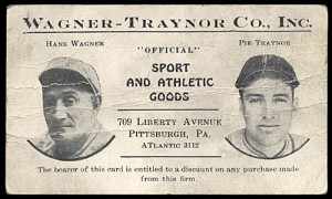 1931 Honus Wagner and Pie Traynor business card