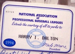 1994 Minor Leagues pass issued to former baseball executive Harry Dalton. From his estate.