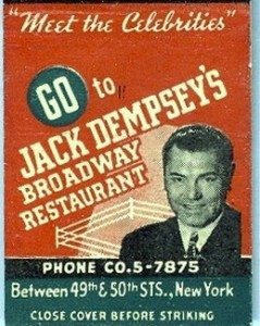 Matchbook from boxer Jack Dempsey's restaurant