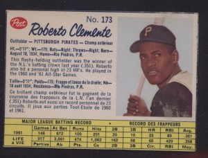 1962 Post Canadian Roberto Clemente
