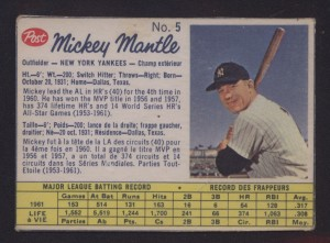 Mickey Mantle 1962 Post Canadian