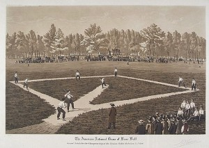 Aquatint of a baseball game