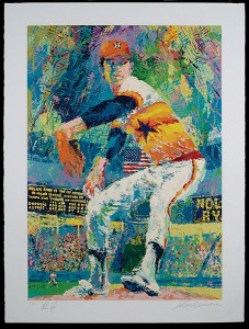 Leroy Neiman serigraph print of Nolan Ryan, hand signed by both and limited edition numbered on the bottom border