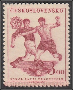 Engraved Czechoslovakian soccer stamp showing the stoic parallel lines of engraving