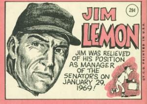 Jim Lemon back 1969 Topps