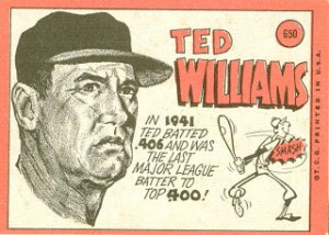 1969 Topps 650 Ted Williams back